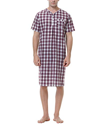 Sykooria Camisa de Dormir para Hombre Pijama Top Camisn de Algodn Ligero Suave Camisn de Manga Corta Ropa de Dormir