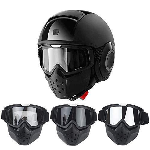 Winter Skifahren Sonnenbrille, Durable Multifunktionale Motorrad Skibrille Maske Abnehmbare Harley Style schützen Padding Helm Sonnenbrille mit abnehmbarer Gesichtsmaske Mouth Filter verstellbaren Rie