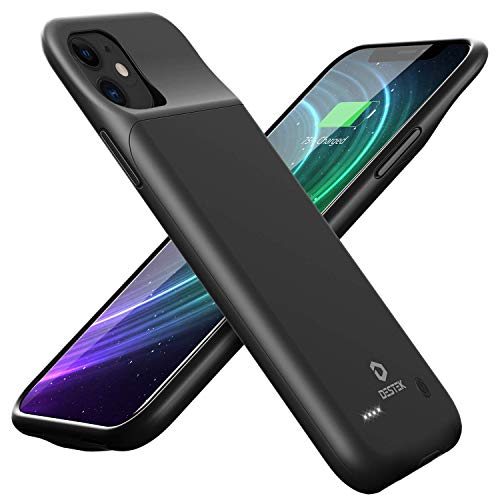 Destek - Custodia con batteria per iPhone 11, 4500 mAh, ricaricabile, portatile, sottile, compatibile con cuffie a filo da 6,1 pollici (versione aggiornata)