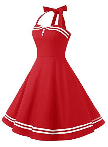 Timormode Rockabilly Kleider Neckholder 50s Vintage Kleid Retro Knielang Kleider Damenkleider Festlich Cocktailkleider 10387 Rot XS - 4