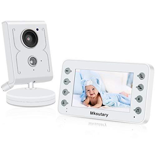 Camara vigilancia Bebe, 4.3'' Camara Bebes vigilancia, intercomunicador Bebe, Camara Bebes vigilancia con VOX, visión Nocturna, Monitoreo de Temperatura, Despertador, Comunicación Bidireccional