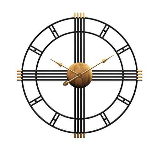 Horloge murale en fer forgé ronde créative salon horloge muette en métal suspendu horloge chambre bureau 20/24 pouce noir (Color : Black, Taille : 50CM)