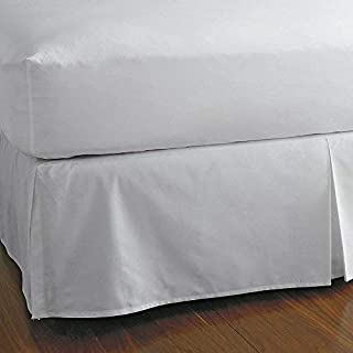 KP Linen King Size Split Corner Bed Skirt 15'' Inch Drop - 100% Egyptian Cotton Luxurious & Hypoallergenic Easy to Wash Wrinkle, (White, King Size Bed Skirt with 15 inch drop)