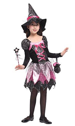 DEMU Hexenkostüm für Kinder Mädchen Halloween Kostüm Hexenkleid mit Hexenhut XL(130-140)