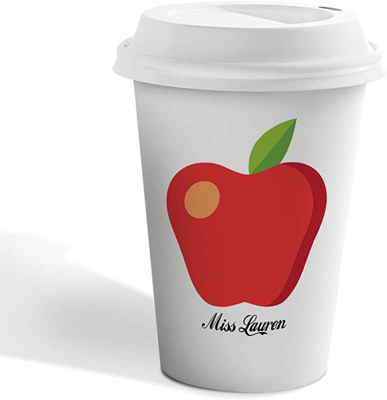 Personalized Custom Text Apple Miss Teacher Ceramic Coffee Tumbler Travel Mug