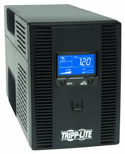 Tripp Lite SMART1500LCDT 1500VA 900W UPS Battery Back Up, AVR, LCD Display, Line-Interactive, 10 Outlets, 120V, USB, Tel & Coax Protection, 3 Year Warranty & Dollar 250,000 Insurance