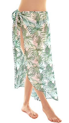 SHEKINI Damen Chiffon Pareo Leichtes Bikini Strandtuch Leopardenmuster Wickelrock Geblümte Strandkleider (Grün)