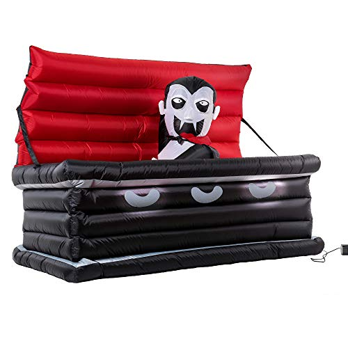 Halloween Haunters Animated 6 Foot Long Inflatable Black Coffin with a Rising Dracula Vampire Yard Prop Decoration with LED Lights - Indoor Outdoor Lawn Graveyard Cemetery Blow Up Haunted House Party