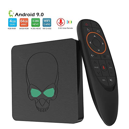 Android 9.0 TV Box, Control De Voz De 4 GB 64 GB DDR4 EMMC Dual Wifi 2.4G + 5G De Cuatro Núcleos ARM Cortex-A73 Y De Doble Núcleo Del Procesador ARM Cortex-A53 4K Ultra HD H.265 USB3.0 Android TV Box