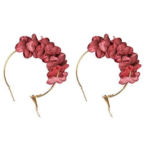 Pendientes de gota elegantes de la flor de la tela Sweety Pendiente de