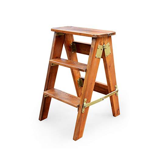 BLWX - Tabouret multi-fonctions à échelle pliante - Pine Ladder Tabouret haut portatif d'escalade en bois massif à trois étapes, 3 couleurs, hauteur 60cm (24 pouces) Échelle (Couleur : A)