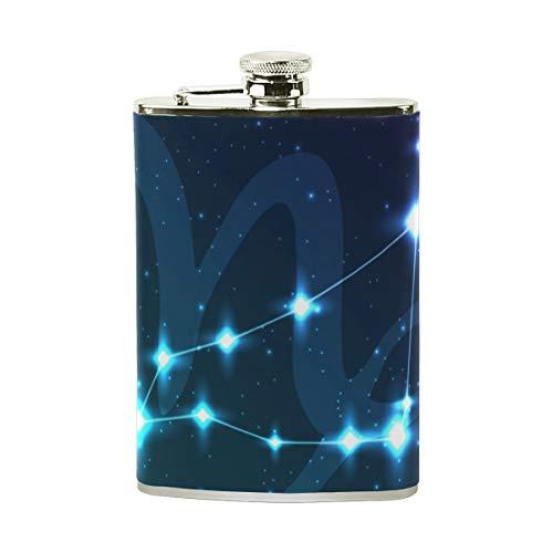 Jeansame Personalisierte Flachmann Mini Flask Trinkflasche Edelstahl 227 ml für Frauen Herren Steinbock Galaxie Sterne Sternbild