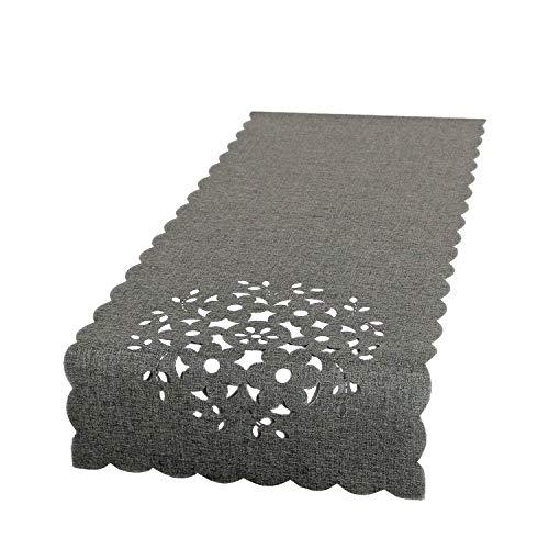 Nappe et chemin de table de différentes couleurs - Série : Bella, Polyester, gris, 40 x 140 cm