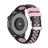 BoLuo 22mm Correa para Huawei Watch3 /Huawei Watch 3 Pro,Bandas Correa Repuesto,Silicona Reloj Recambio Brazalete Correa Repuesto para Huawei Watch GT2 Pro/watch GT 42mm/46mm/GT2 46MM (rosa negro)