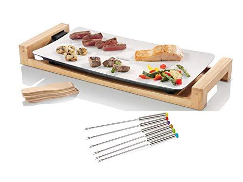 Teppanyaki Grill & 6 Teppan Gabeln, Tischgrill für Balkon, Elektrogrill mit Bambusgehäuse, große Grillplatte 25x50cm, 2500Watt