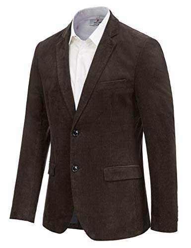PJ PAUL JONES Men's Casual Lightweight Slim 2 Buttons Corduroy Suit Blazers Jacket Chocolate, Large