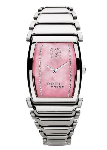 Breil Damen Fishbone Quarzuhr tw0518mit Pink MOP Analoges Zifferblatt mit Kristallen, Edelstahl Fall und Armband