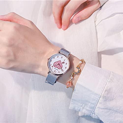 Lvmiao Reloj en Forma de corazón, Reloj de cinturón de Lona Arco Iris, Reloj de Cuarzo a Prueba de Agua, Reloj de alumno de la Escuela Media del Temperamento Simple,7