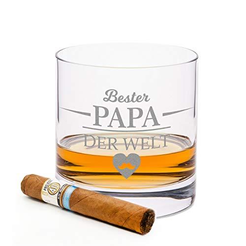 Leonardo Vaso de whisky con grabado – Mejor papá del mundo – Regalo ideal como regalo del día del padre – Vaso de whisky de 0,5 l como regalo de cumpleaños para hombres