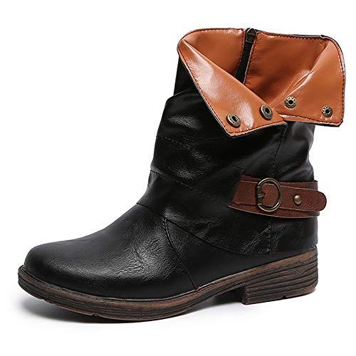 TUDUZ Vintage Damen Runde Kappe Leder Booties Reißverschluss Kurzschaft Stiefeletten Stiefel Platz Heel Schuhe
