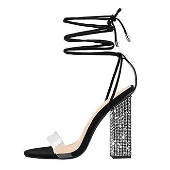 MissHeel Wrap Up Heels for Women Clear Strappy High Heels with Rhinestones Gladiator Sandals Tie Up String Heels Summer Black Size 10