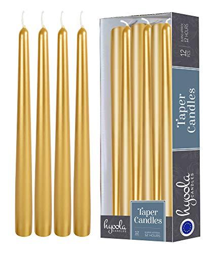 Hyoola 12er Pack Stabkerzen Tropffrei – 12 Stunden Brenndauer – Leuchterkerzen Metallisches Gold – Unparfümiert – 35 cm Tafelkerzen