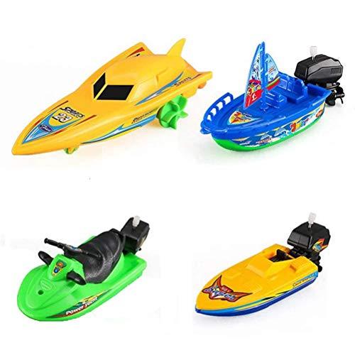 4 Stück zufällige Farbe Uhrwerk Boot für Kinder Aufziehboote Wassersegeln Motorboot Schnellboot Baby Bad Yacht Aufzug Uhrwerk Spielzeug Kunststoff Aufziehspielzeug Schwimmbad Bad Schwimmspielzeug