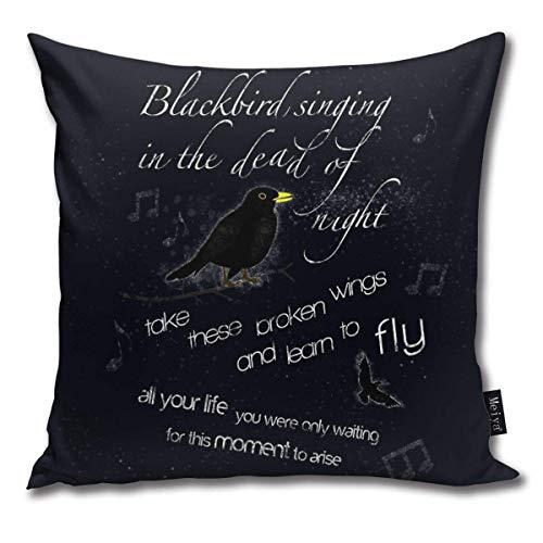 QUEMIN Funda de cojín Decorativa Cuadrada Blackbirds Funda de Almohada para sofá 45 x 45 cm / 18 x 18 Pulgadas