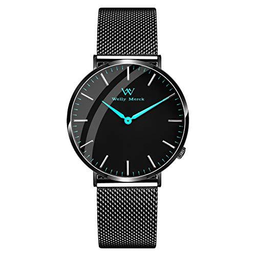 Welly Merck Herren-Armbanduhr Analog Schweizer Quarz mit schwarzem Edelstahlarmband M-C10M2