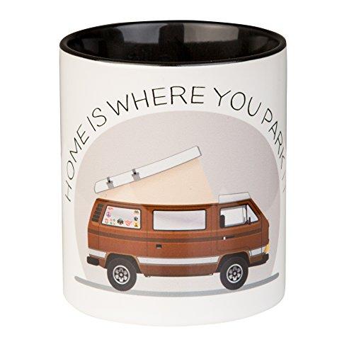 Kaffeepott mit Campervan Design | Home is where you park it | für Campingbus Fans | aus Keramik mit schwarzer Innentasse | von MUGSY