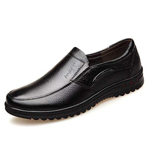 HUBINGRONG Conducción Mocasín for hombres puntada Zapatos ocasionales del barco con decoración de metal resbalón de cuero auténtico punta redonda talón plano resistente al desgaste zapatos antidesliza
