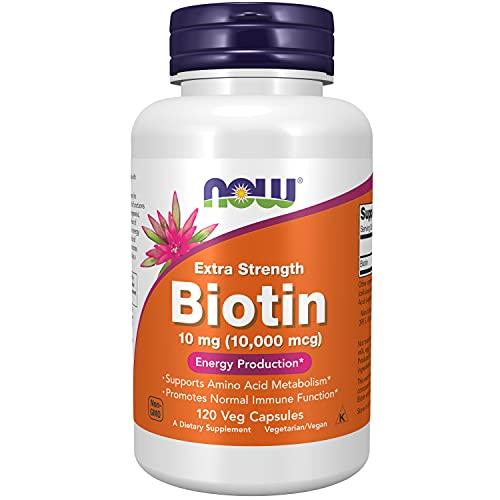 NOW Supplements, Biotin 10 mg (10,000 mcg), Extra Strength, Energy Production*, 120 Veg Capsules