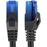 KabelDirekt - 15m - Cable de red, cable Ethernet y Lan - (transmite hasta 1 Gigabit por segundo y es adecuado para switches, routers, módems con entrada RJ45, negro-azul)