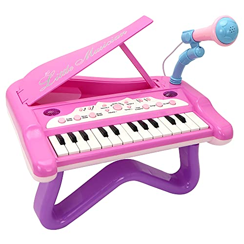 Little Girl Mini Piano, 24 Keyboard, Multifunctional Musical with Built-in Microphone and Music Modes, Instrument Toys, Kids Toys for Girls, Toddler Gifts for Birthday, Christmas, Classroom Prize