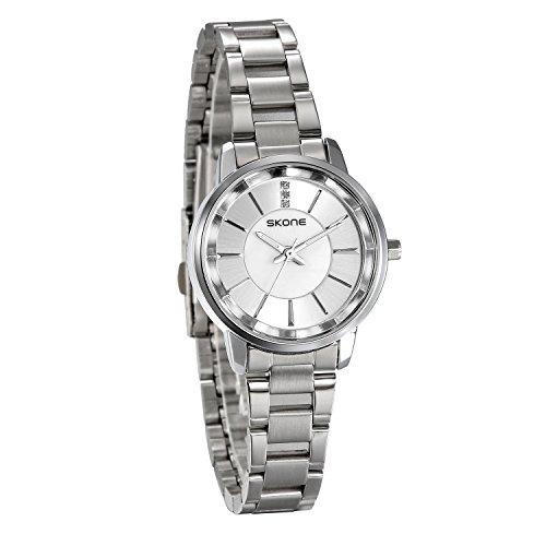 JewelryWe Damen Armbanduhr Klassiche Analog Quarz Edelstahl Band Uhr mit Silber rundem Zifferblatt