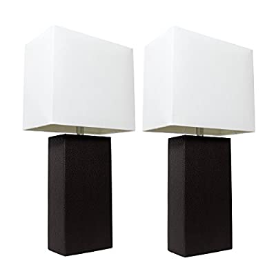 """Elegant Designs LC2000-BLK-2PK 2 Pack Modern Leather Table Lamps with White Fabric Shades, 3.9"""", Black"""