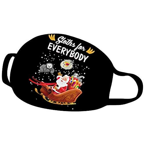 MEITING 1PC Erwachsene Mundschutz Cartoon Weihnachten Weihnachtsmann Druck Waschbares Gesicht,Multifunktionstuch Wiederverwendbares Stoff Bandana,Atmungsaktives Und Verstellbares Staubdichtes Halstuch