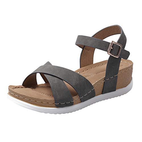 TUDUZ Sandalias De Verano para Mujer Zapatos De Hebilla De Cinturón Cruzado Suave Sandalias Romanas De Cuña