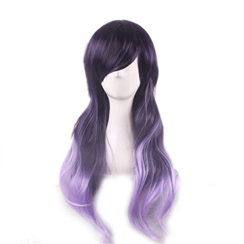 Longlove Long Curls Perruque femelle personnage de dessin animé Cheveux Halloween mascarade jouer Jeu Big Wave Perruque