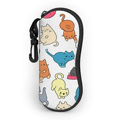 Funda de Gafas Lindo gato azul con patrón de colores naranja piel de jengibre para mascotas Ultra Ligero Neopreno Suaves viaje Estuche para Gafas de caso Bolsa con Clip de Cinturón
