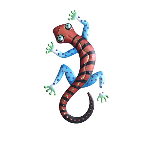 ZQEDY Metal Gecko Backyard Bedroom Iron Art Hanging Patio Wall Decor Fence Home Outdoor Garden Living om Porch Sculptures Lawn Statues Gift Boutique(Red)