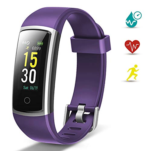 Lintelek Pulsera Actividad, Reloj Inteligente con Medidor de Ritmo Cardíaco Presión Arterial, Reloj Deportivo Compatible a Android y iOS para Hombre Mujer Niño