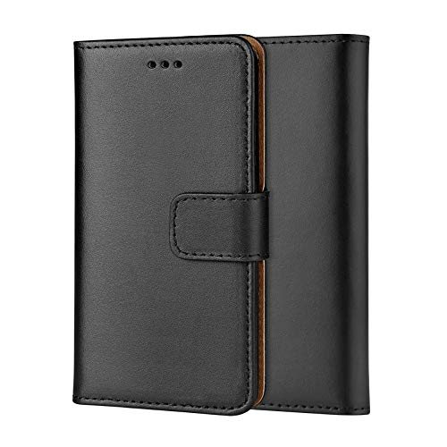 ameego Premium Genuine Real Leather Slim Wallet Flip Stand Hülle Cover for Samsung Galaxy Grand Prime G530 (Black)