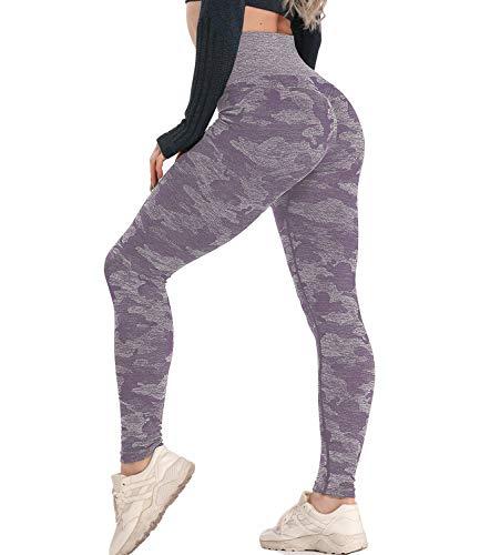 KIWI RATA Women's High Waist Active Seamless Compression Fitness Leggings Running Workout Slim Butt Lift Yoga Pants (#4 Purple, Large)