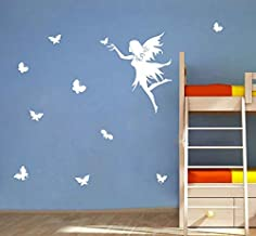 DecorVilla Fairy butterfly Wall Sticker and Decal (PVC Vinyl, White, 111 x 58 cm)