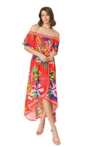 Bohemian Off Shoulder Maxi Dress - Hi Low Hem Tropical Floral Smocked Dress (6983-TM_Red, Small)
