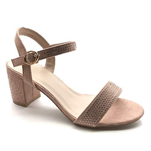 Angkorly - Damen Schuhe Sandalen Pumpe - kleine Fersen - Plateauschuhe - Offen - Strass Diamant - String Tanga Blockabsatz high Heel 7 cm - Rosa Nude 2 FC-51 T 39