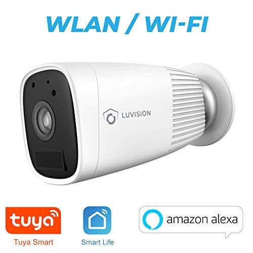WLAN Akku Überwachungskamera | kabellose Indoor/Outdoor Kamera | Full HD | Nachtsicht | Gegensprechanlage | Bewegungserkennung | Cloud | TUYA & SmartLife App | Alexa kompatibel