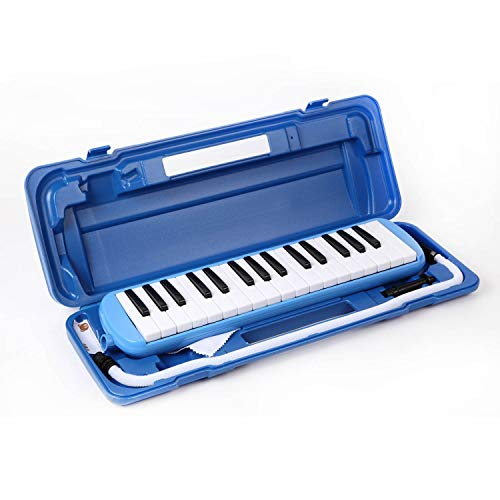 鍵盤ハーモニカ 32鍵盤 オリジナル音階シール付き お名前シール付き (ブルー)