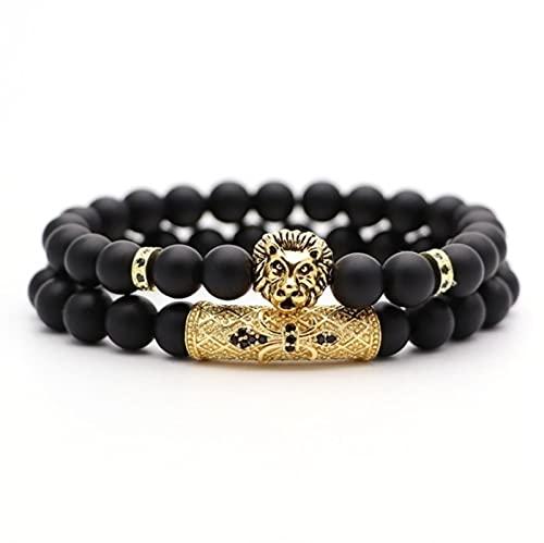 Pulsera de cuentas de piedra natural popular pequeño león corona y bola pulsera creativa de los hombres Hip Hop joyería,